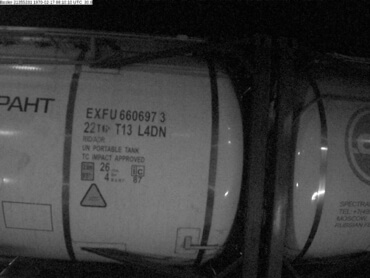 Example of successfully recognized tank container number located on side in night time