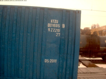Example of successfully recognized cargo container number located on side in daylight conditions